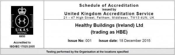 HBE UKAS 17025 Certificate for Asbestos fibre testing